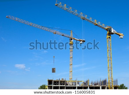 Work on a building area. Industry construction - stock photo