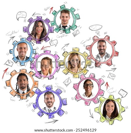 Work on social as a great machine - stock photo
