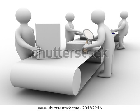Work on the conveyor. 3D image. Isolated illustrations - stock photo
