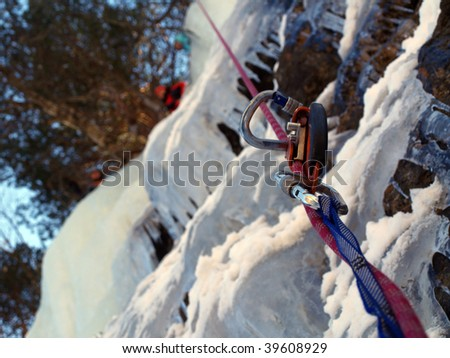 Work on the route with a rope. - stock photo