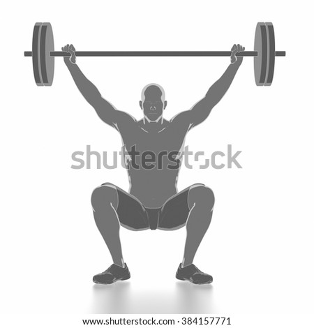 Work out and fitness concept - weightlifting warm up - stock photo