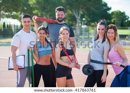 work out with fitness  training instructor