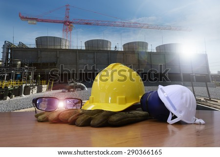 work outdoor wear safety equipment  at utility construction site . - stock photo
