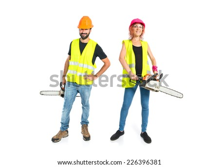 Work people with chainsaw over white background - stock photo