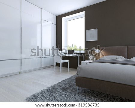 Work place in high-tech bedroom. 3D render - stock photo