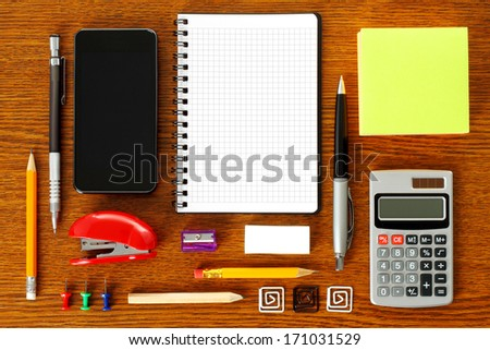 Work place with office stationery close-up  - stock photo