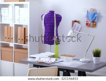 Work place with sew manikins, in office - stock photo