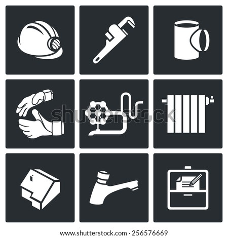 Work plumber at home Icons Set - stock photo