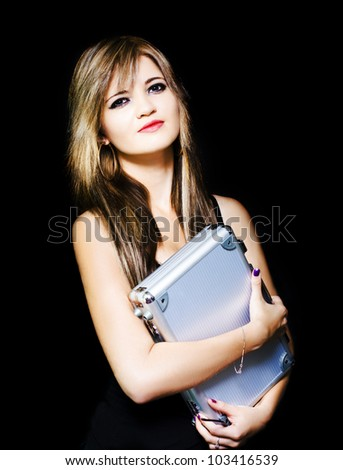 Work Ready Beautiful Business Woman Holding A Briefcase While Waiting For A Job Vacancy In A Labour Recruitment And Staff Hire Concept On Black Background - stock photo