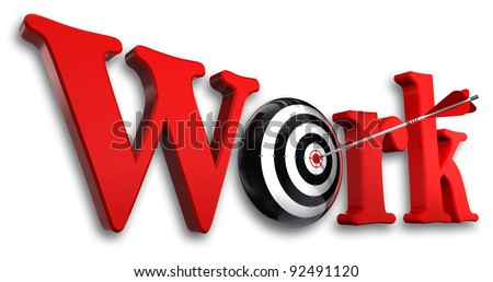 work red word and conceptual target with arrow on white background - stock photo