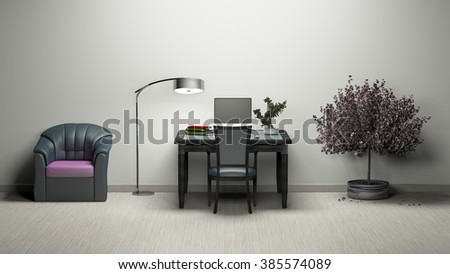 Work room Simple and good look Tree Pink Sofa / 3d rendering image Non brand,sketches.All completely new design   - stock photo