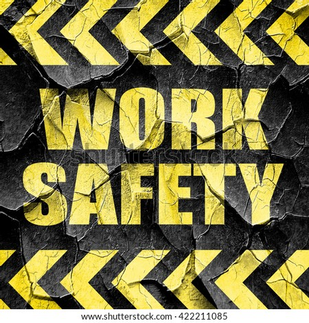 work safety, black and yellow rough hazard stripes - stock photo