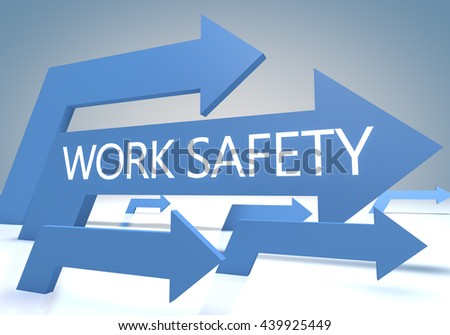 Work Safety 3d render concept with blue arrows on a bluegrey background. - stock photo