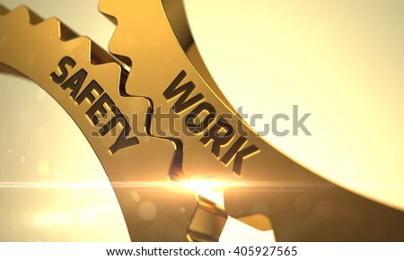 Work Safety on the Golden Cog Gears. Work Safety - Industrial Illustration with Glow Effect and Lens Flare. Work Safety on the Mechanism of Golden Gears with Glow Effect. 3D. - stock photo