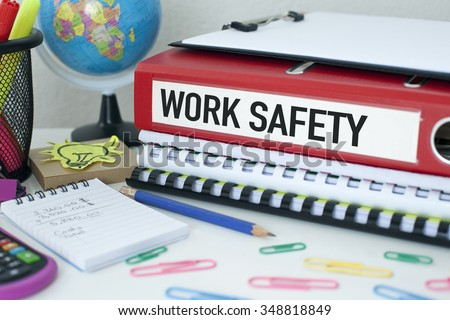 Work Safety / Procedures policies documents concept on office desk - stock photo
