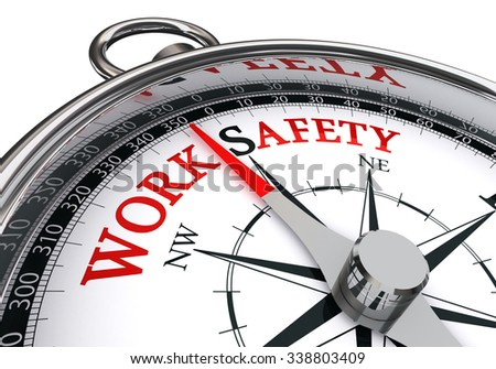 Work safety red word on conceptual image, isolated on white background