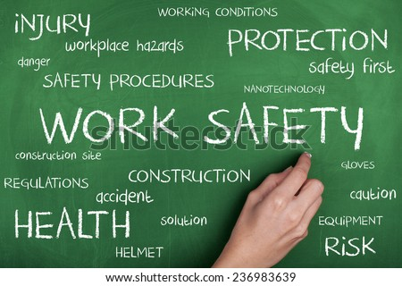 Work Safety Word Cloud / Safety First in Construction Area - stock photo