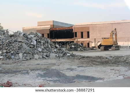 Work site of a building demolition. - stock photo
