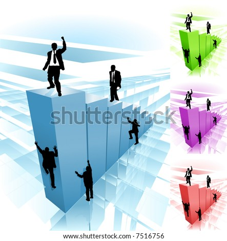 Work smarter not harder. Business people striving to reach the top, some taking hard way climbing, while others take easy route. Raster version. - stock photo