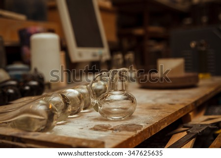 work space in a glassware workshop with ready product