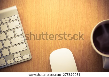 Work space on desk,top view - stock photo