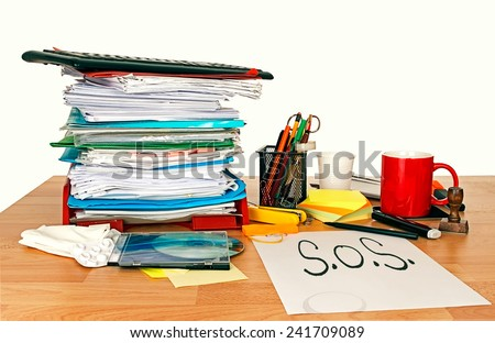 Work stress, pressure. Employment problem. SOS with paperwork, painkillers and coffee mug! - stock photo