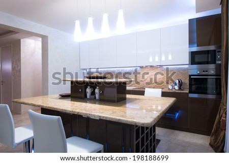 Work surfaces in the kitchen - stock photo