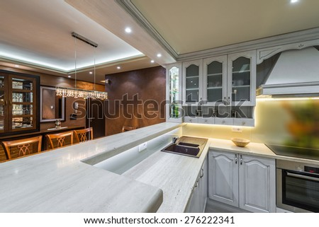 Work surfaces in the modern kitchen interior - stock photo