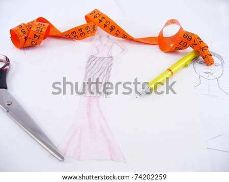 work table of a fashion designer - stock photo