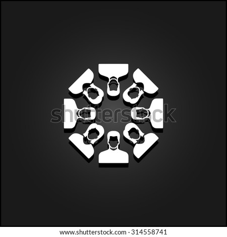 Work team concept. White flat simple icon illustration with shadow on a black background. Symbol for web and mobile applications for use as logo, pictogram, icon, infographic element - stock photo