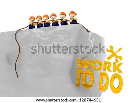 work to do icon in comic construction 3d illustration - stock photo