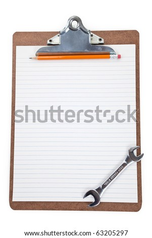 Work Tool and Clipboard, Concept of Home Repairing plan