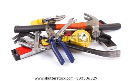 work tool heap on white background - stock photo