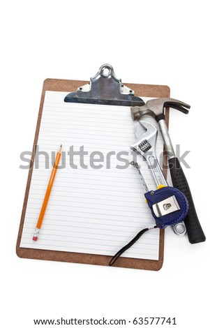 Work Tools and Clipboard, Concept of Home Repairing plan