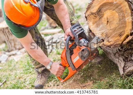 Work with log - stock photo
