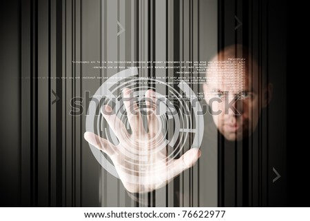 work with touch screen - stock photo