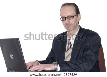 Workaholic, businessman, boss working on  laptop. Business, corporate concept.