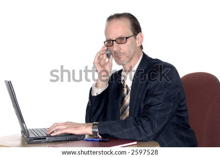 Workaholic, businessman, boss working on  laptop, making a phone call. Business, corporate concept.