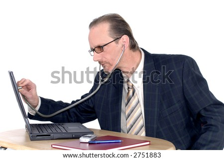 Workaholic, businessman, investigating computer doctor. Business, corporate, security concept.