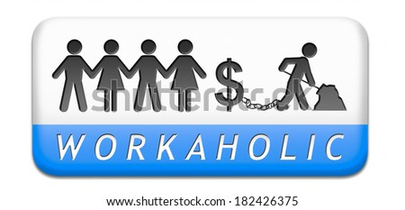 workaholic money slave working hard to earn income by doing over time in a difficult job like in slavery or being under paid paper cahin silhouette