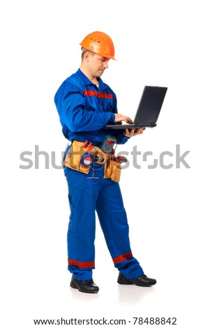 Worke? man with laptop in workwear against white - stock photo