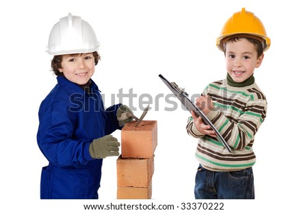 Worker and supervisor a over white background - stock photo