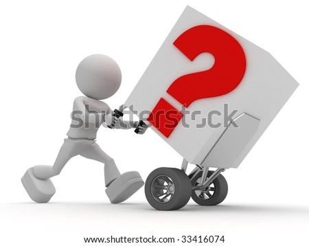 Worker carries question - stock photo
