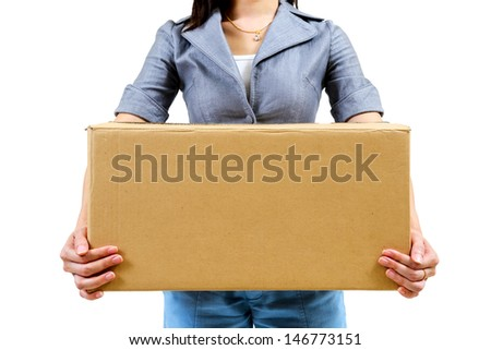 Worker carrying closed cardboard box isolated on white background - stock photo