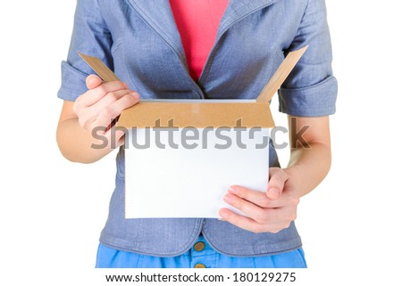 Worker carrying open cardboard box isolate on white background - stock photo