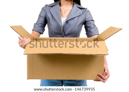 Worker carrying open cardboard box isolated on white background - stock photo