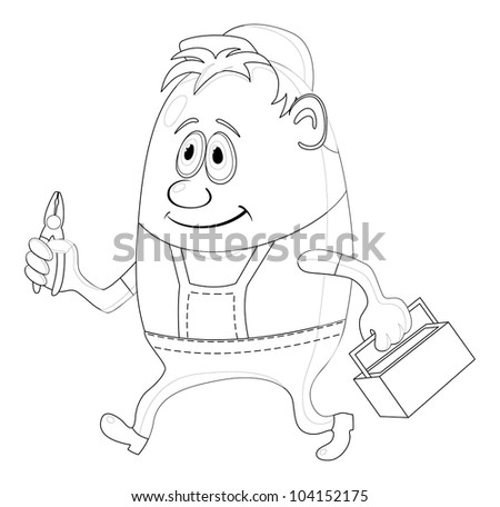 Worker, cartoon character, man in uniform and cap with pliers and toolbox, contour - stock photo