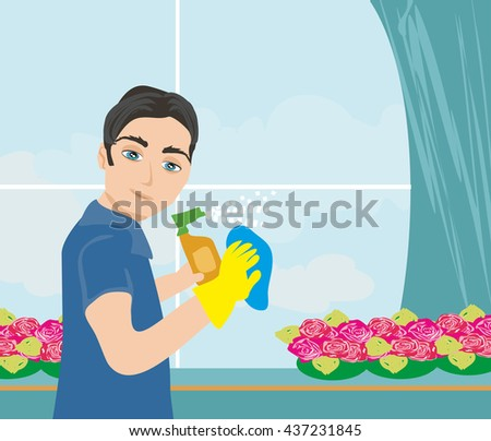 worker  cleaning the window - stock photo