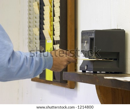 worker clocking out - stock photo