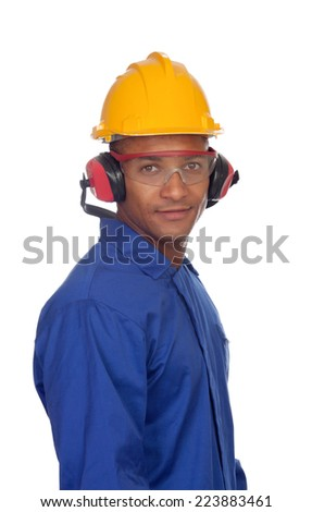 Worker construction with glasses and helmet isolated on a white background - stock photo